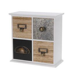 Cutie bijuterii din lemn, patrata, 4 sertare diferite