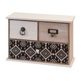 Cutie bijuterii din lemn, dreptunghiulara, 3 sertare